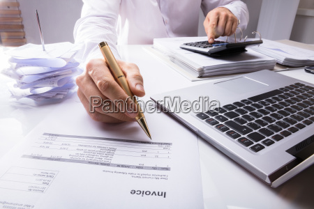 accountant, calculating, invoice, using, calculator, and - 23600710