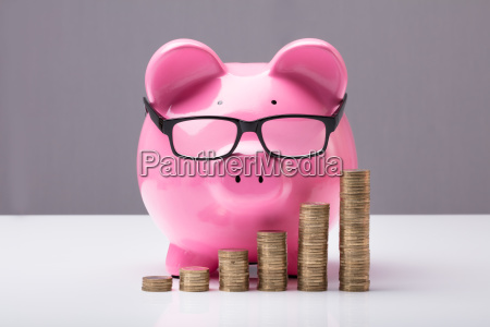 piggybank, and, stacked, coins - 23600664