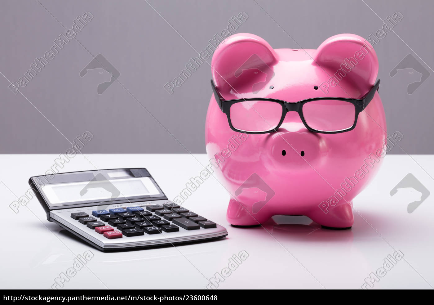 piggybank, with, eyeglasses, and, calculator - 23600648