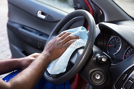 worker, cleaning, car, steering, wheel - 23600742