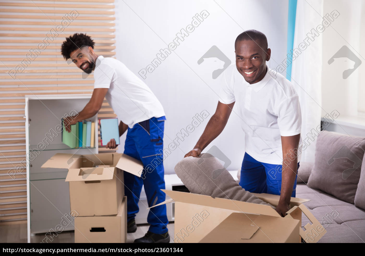 movers, unpacking, the, cardboard, boxes, in - 23601344