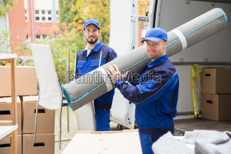 two, delivery, men, holding, chairs, and - 23601388