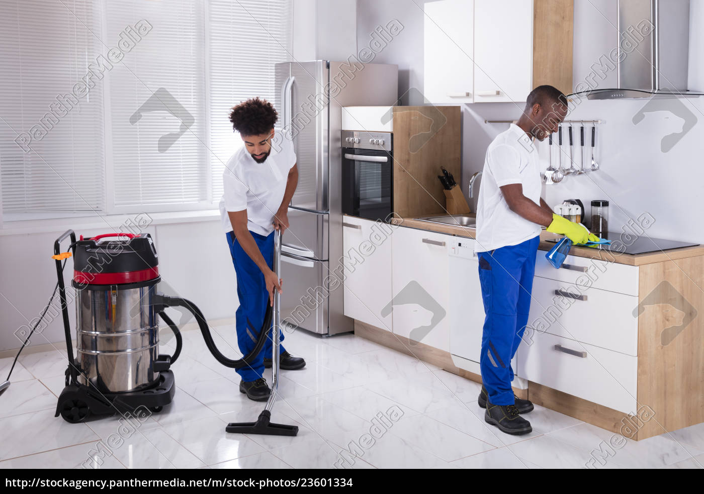 two, male, janitor, cleaning, the, kitchen - 23601334