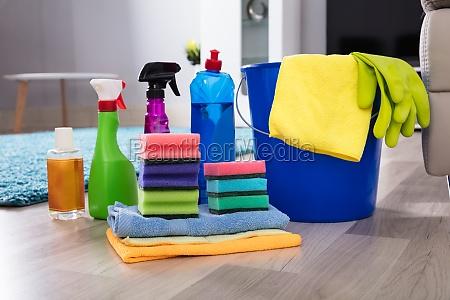 cleaning equipments on hardwood floor