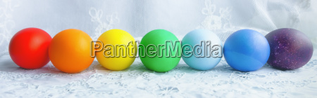 colorful row of easter eggs