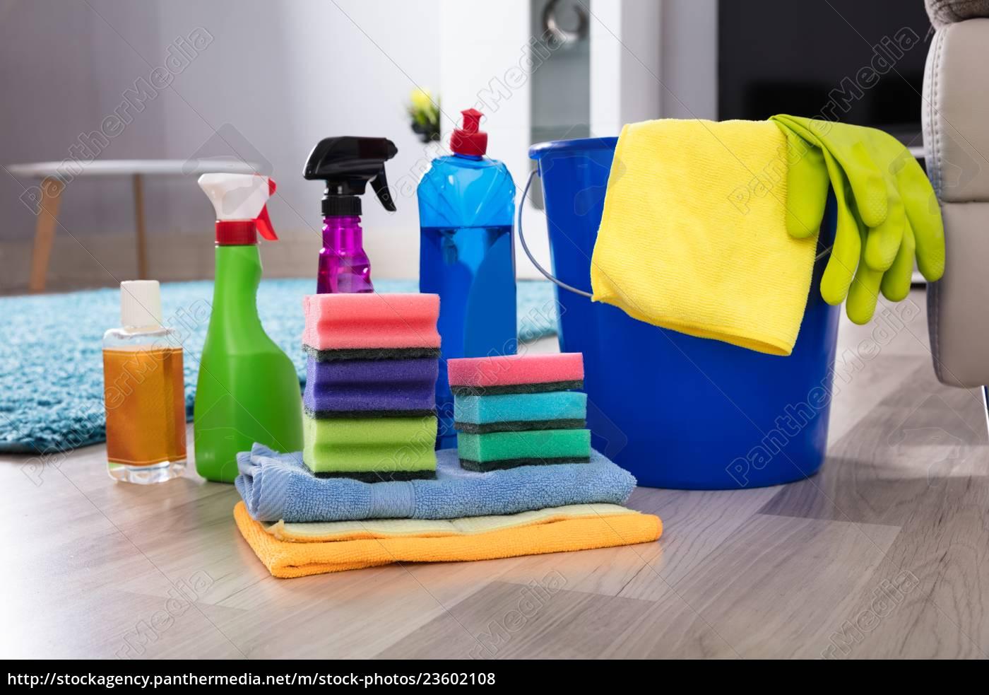 cleaning, equipments, on, hardwood, floor - 23602108