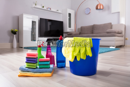 house, cleaning, products, on, hardwood, floor - 23602110