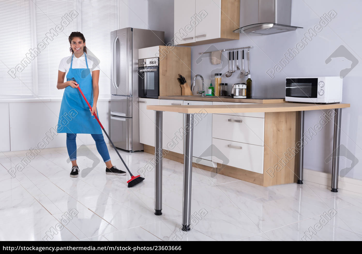 housemaid, cleaning, floor, with, broom - 23603666