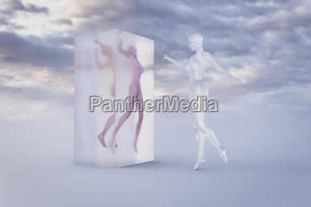 cyborg woman examining woman frozen in