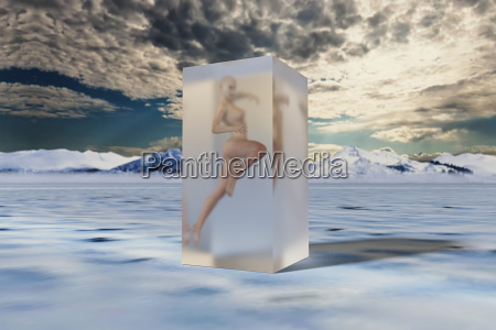 woman frozen in suspended animation
