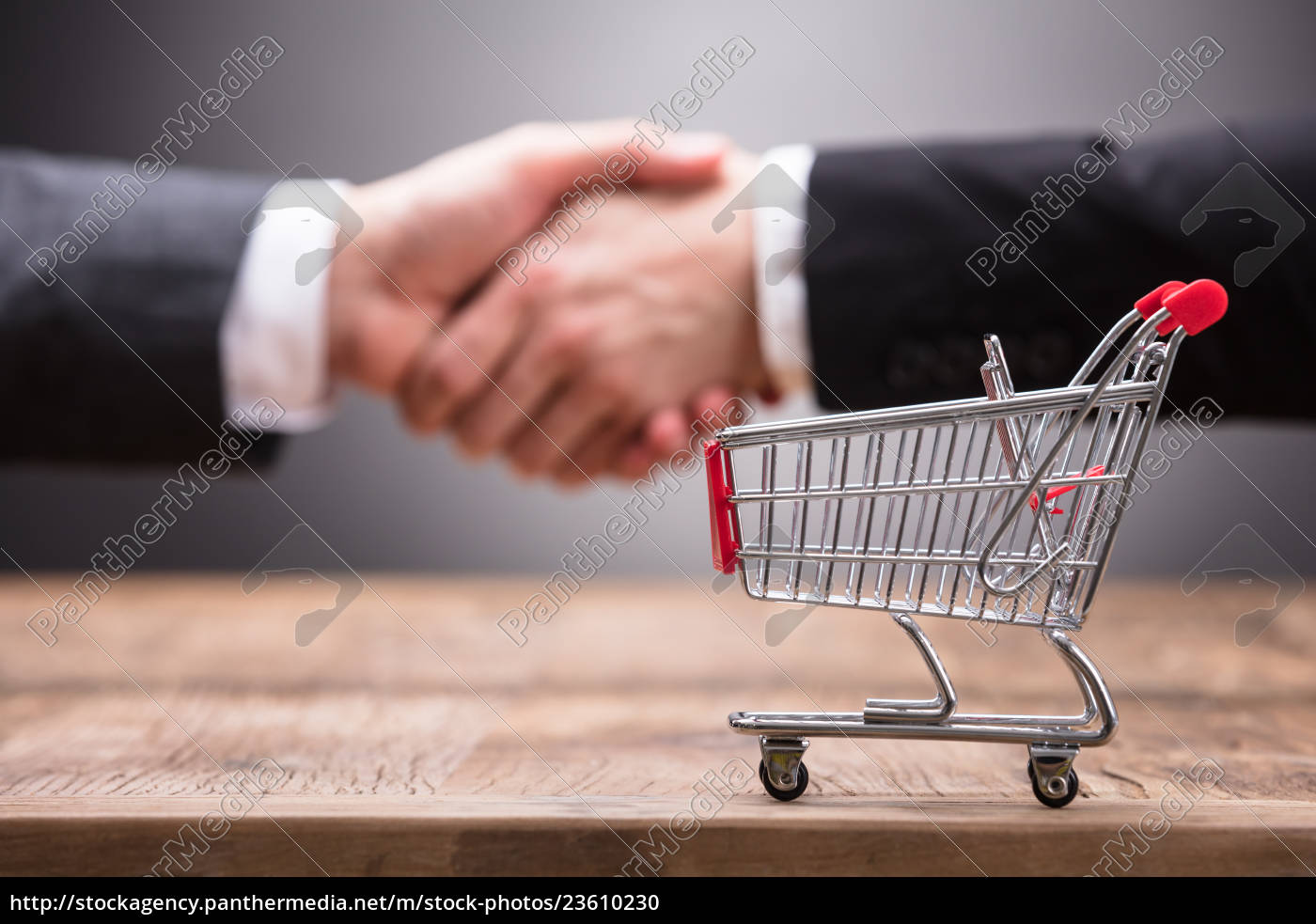 close-up, of, shopping, cart, on, wooden - 23610230