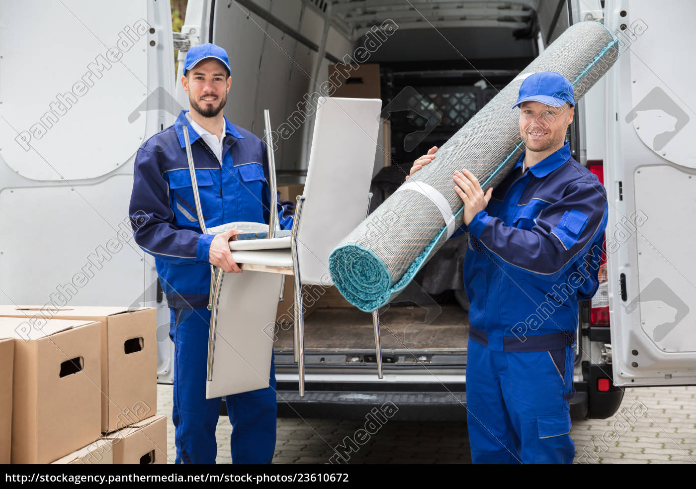 two, delivery, men, holding, chairs, and - 23610672