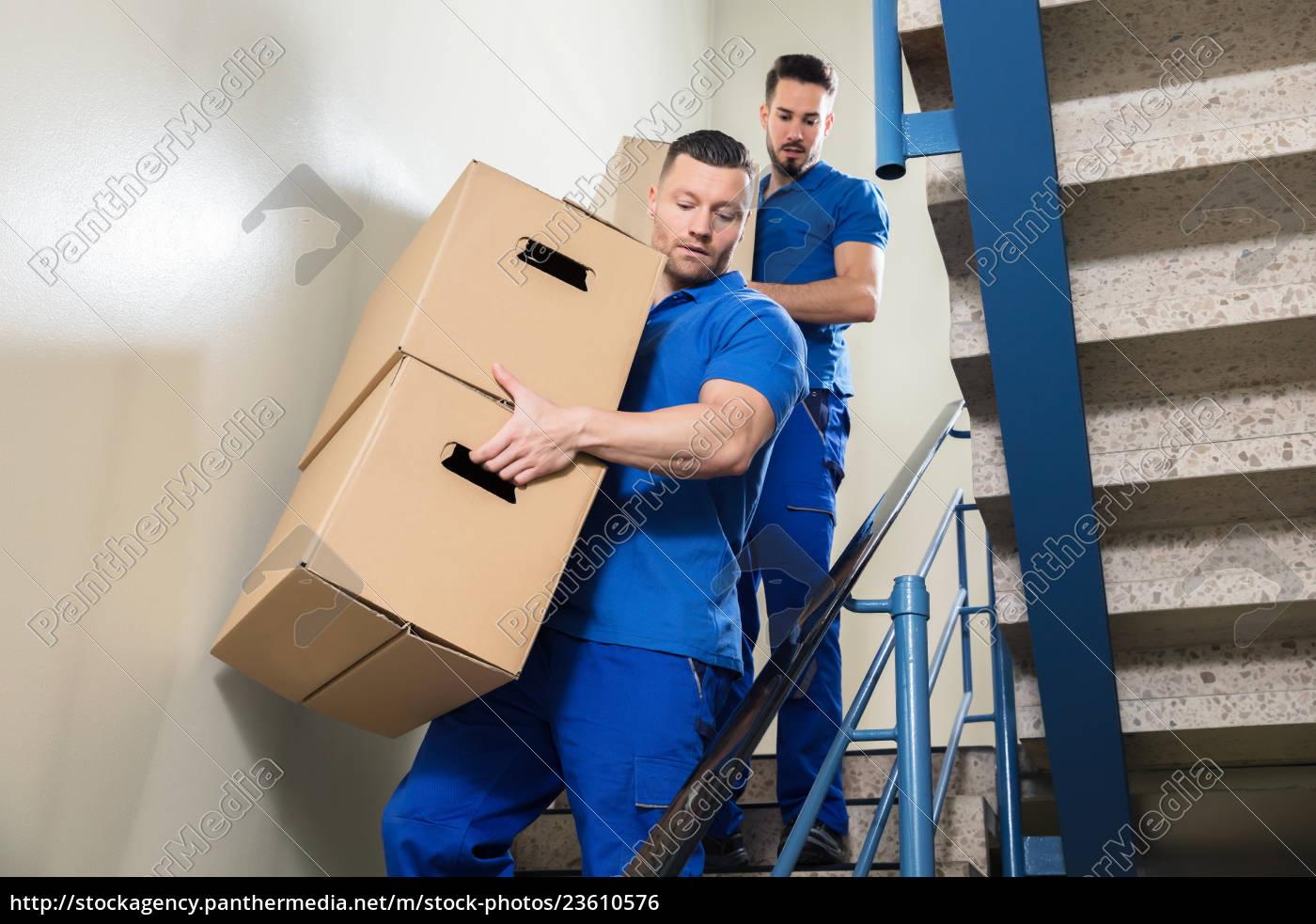 two, movers, carrying, cardboard, boxes, on - 23610576
