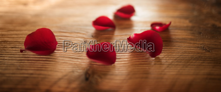 red rose petals lit on rustic