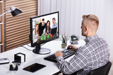 businessman video conference