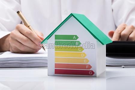businessman, calculating, energy, efficient, house - 23618154