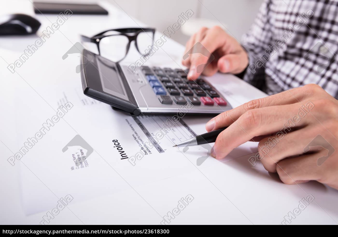 businessman's, hands, calculating, invoice - 23618300