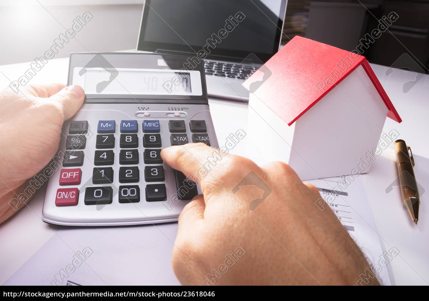 businessman, using, calculator - 23618046