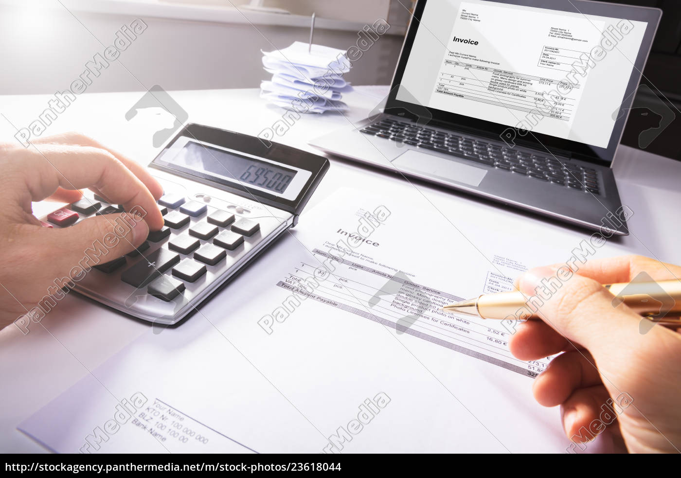 businessperson's, hand, calculating, invoice - 23618044