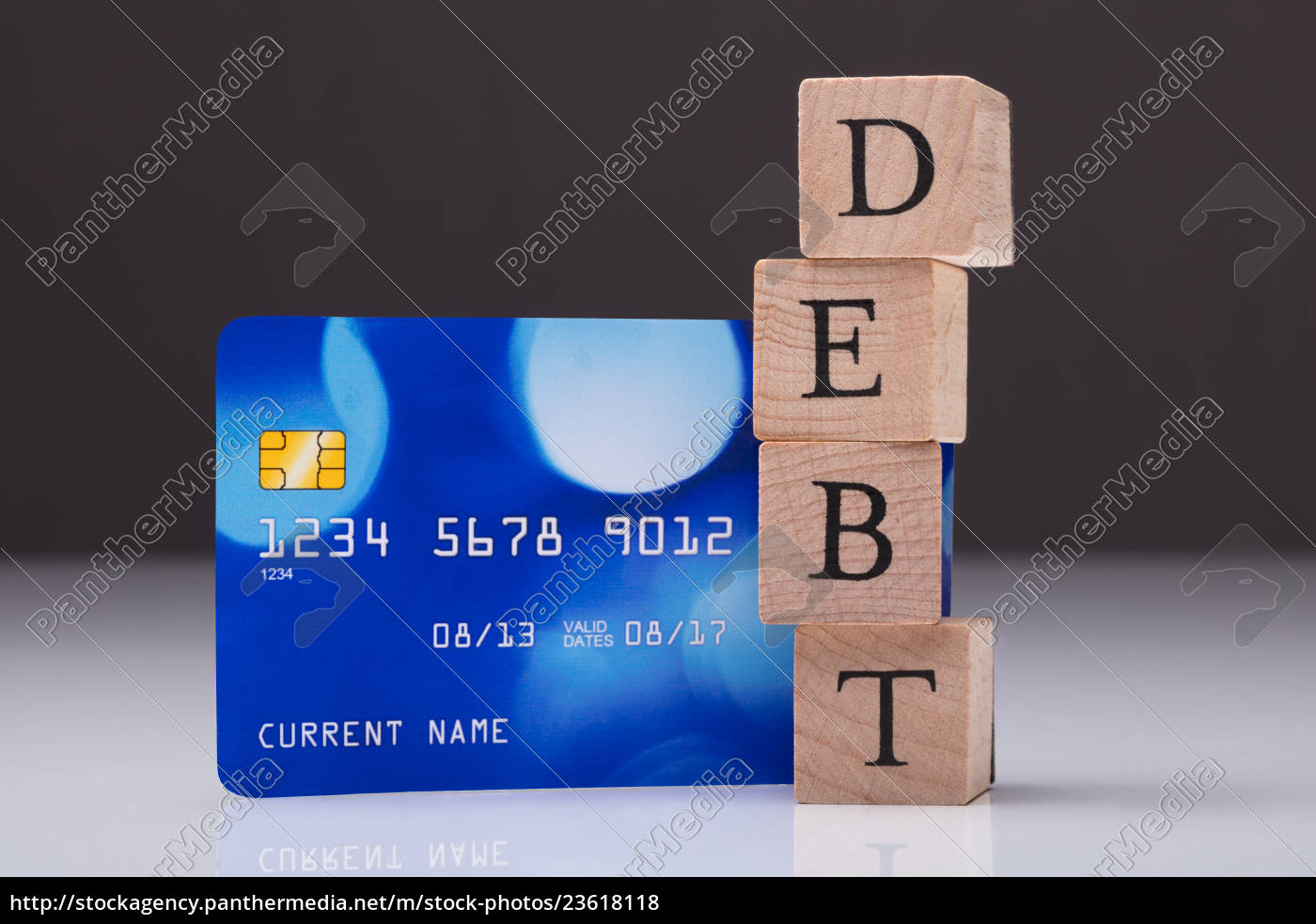 debt, card, and, debt, word, on - 23618118