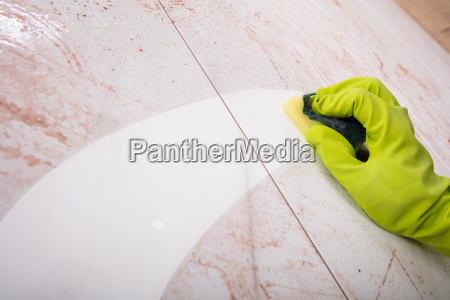 hands, in, rubber, gloves, scrubbing, kitchen - 23618206