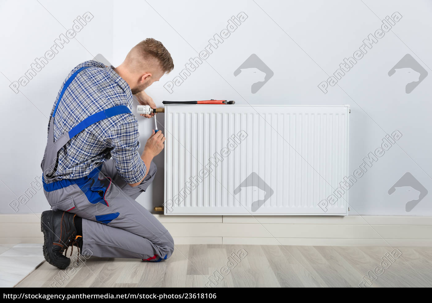 male, plumber, fixing, thermostat - 23618106