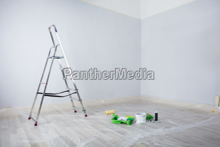 painted, white, room, with, ladder, and - 23618244