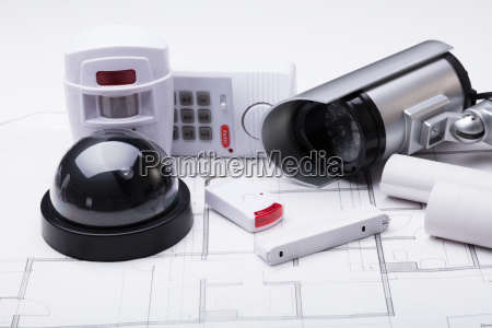 security, equipment, on, blueprint - 23618114