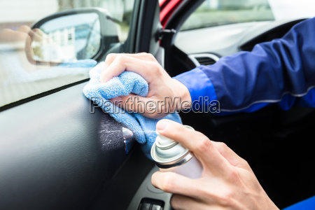 serviceman, cleaning, car, interior - 23618188