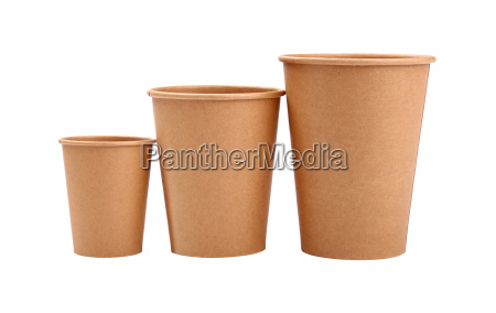 three brown paper parchment coffee cups