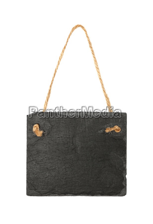 black slate board on rope isolated