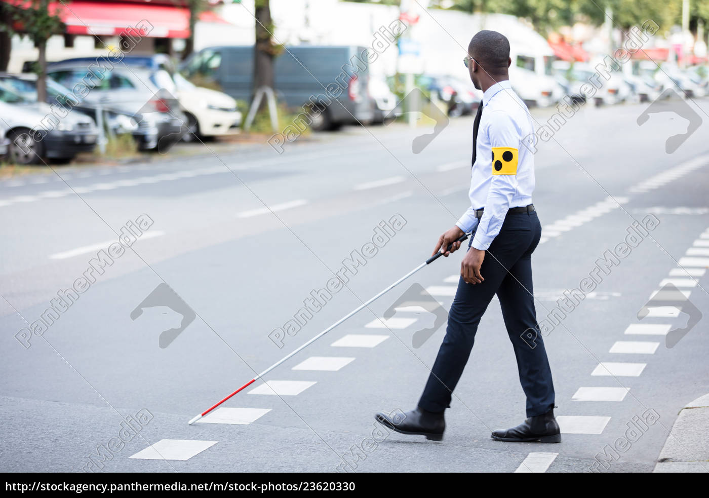 blind, man, wearing, armband, walking, with - 23620330