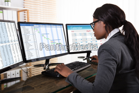 businesswoman, analyzing, gantt, chart, on, computer - 23620356