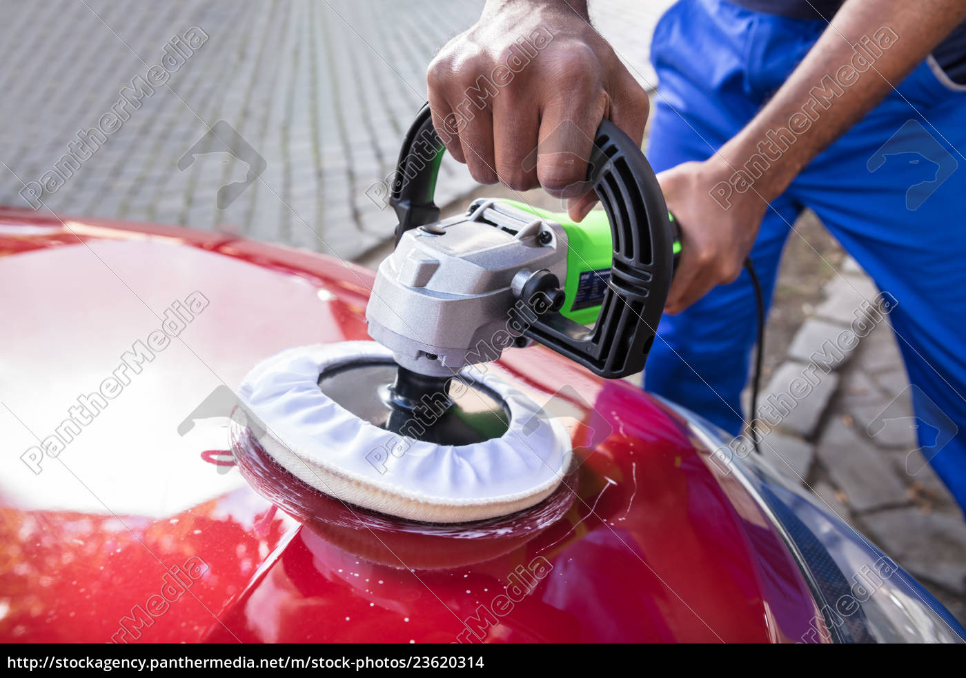 hands, polishing, car, with, orbital, polisher - 23620314