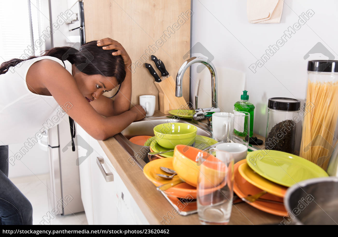 stressed, woman, leaning, near, kitchen, sink - 23620462