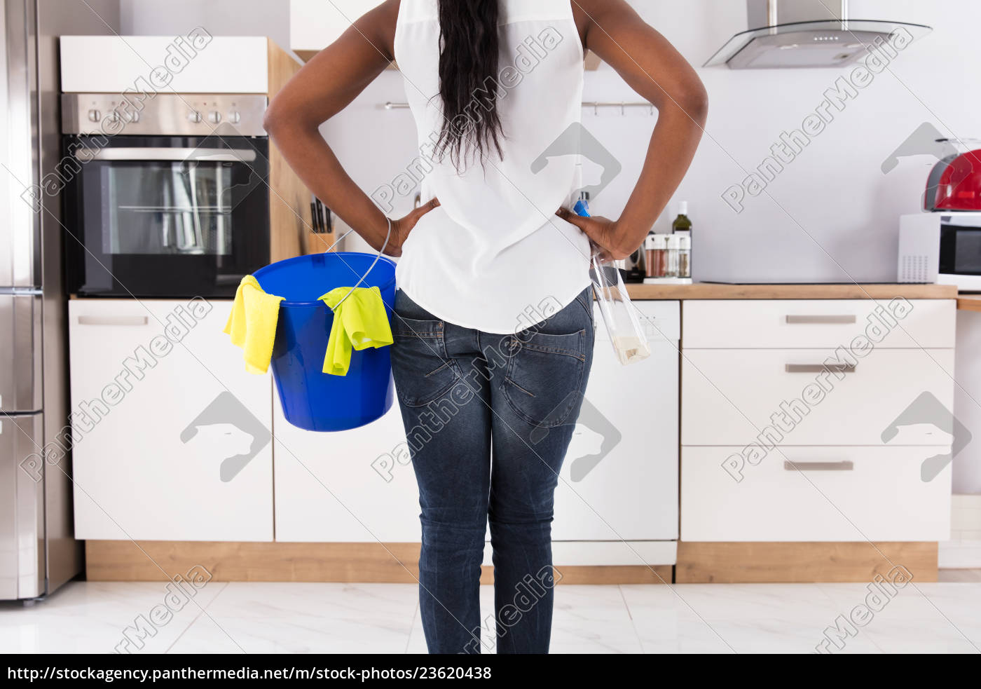 woman, with, bucket, and, spray, bottle - 23620438