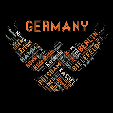 word cloud of germany cities
