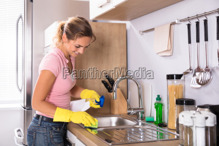 woman, cleaning, kitchen, sink - 23624138