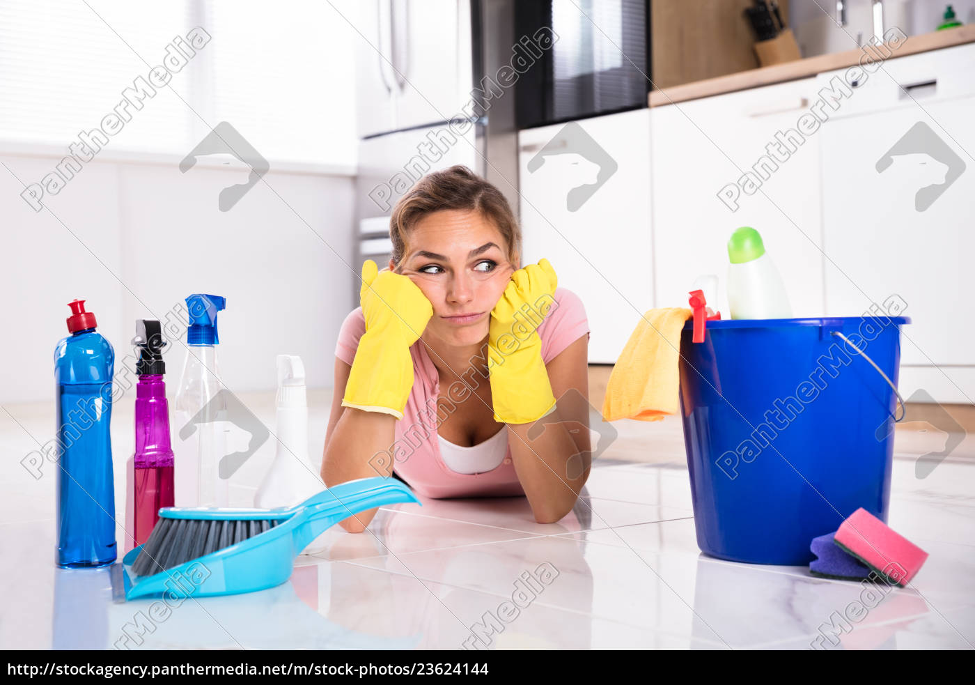 woman, lying, on, kitchen, floor, and - 23624144
