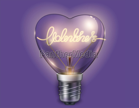 light bulb heart shaped on violet