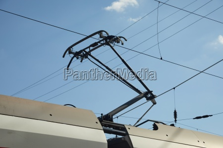 train pantograph closeup