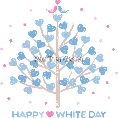 white day tree with heart shaped