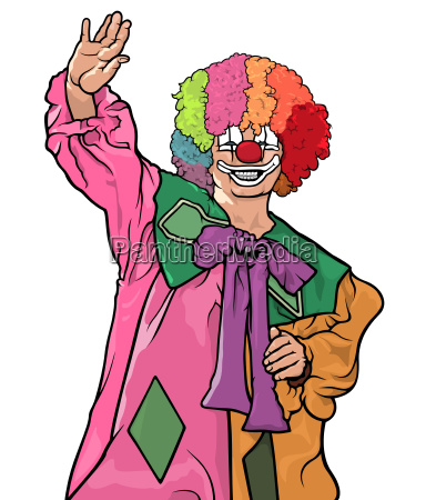 colorful clown waving