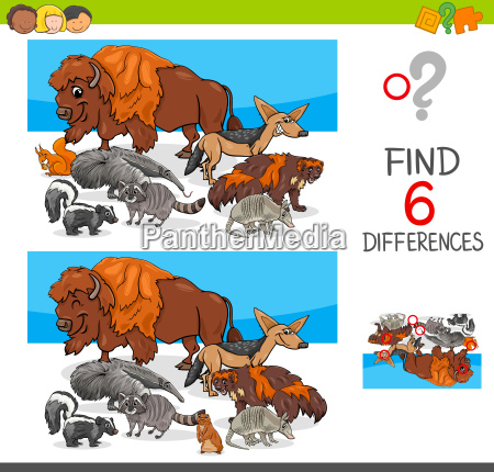 find differences with wild animal characters