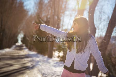 happy little girl in the winter