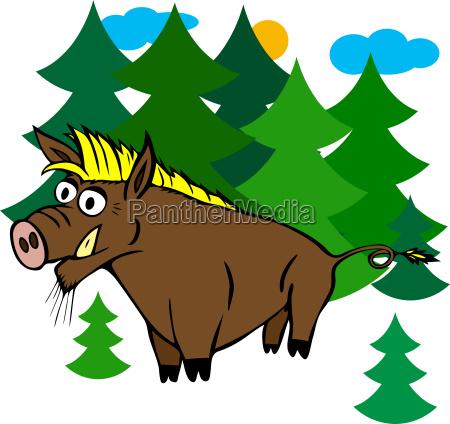 cartoon brown wild boar with yellow
