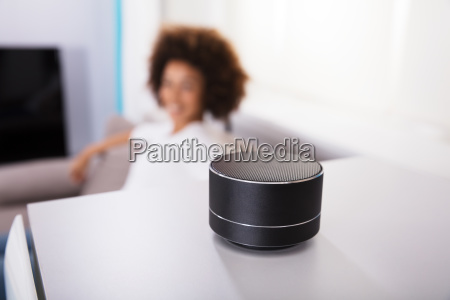 close up of wireless speaker