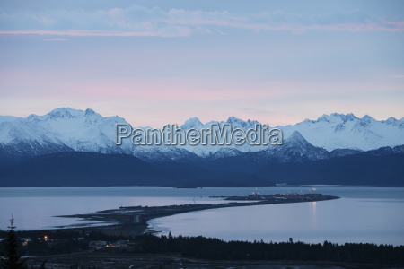 homer spit and the kenai mountains