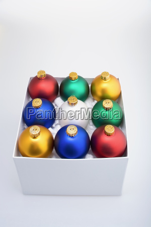 colorful christmas tree bulb ornaments stacked