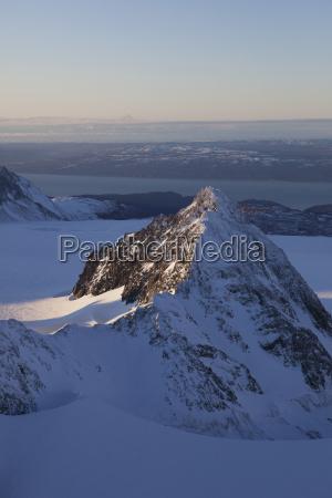 aerial view of kenai mountains near